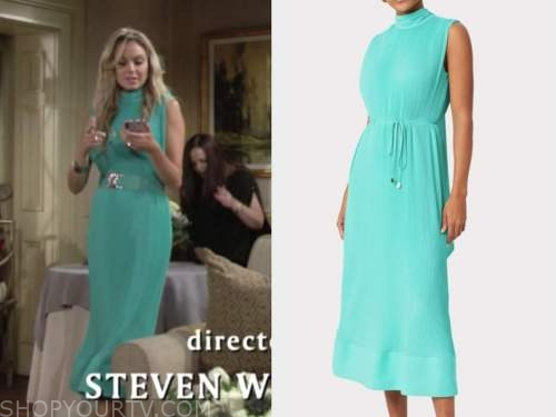 abby newman, melissa ordway, mint pleated dress, the young and the restless