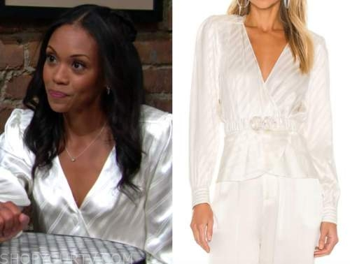 Amanda Sinclair, Michael Morgan, white striped blouse, the young and the restless