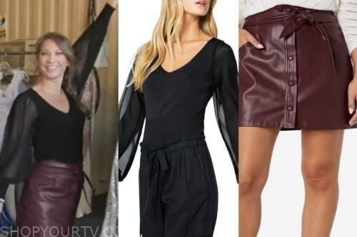 ginger zee, good morning america, black sweater, burgundy leather skirt