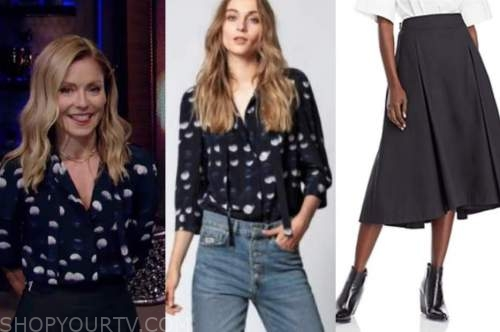 live with kelly and ryan, dot blouse, black midi skirt, live with kelly and ryan