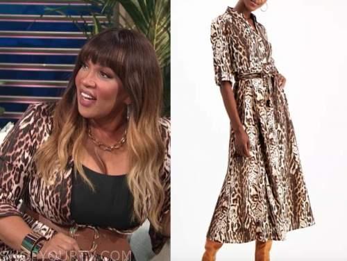 kym whitley, E! news, daily pop, leopard shirt dress