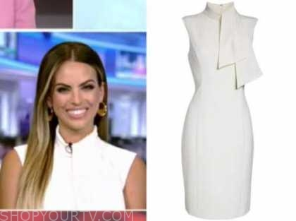 kacie mcdonnell, outnumbered, white tie neck sheath dress