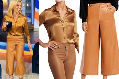 amy robach, good morning america, gold silk shirt, camel leather pants