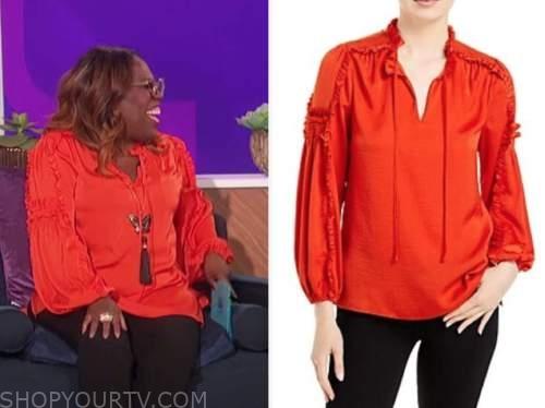 sheryl underwood, the talk, red ruffle trim blouse