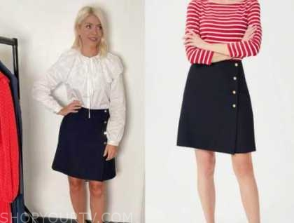 holly willoughby, this morning, navy blue button skirt