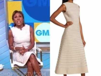 robin roberts, good morning america, metallic knit stripe midi dress