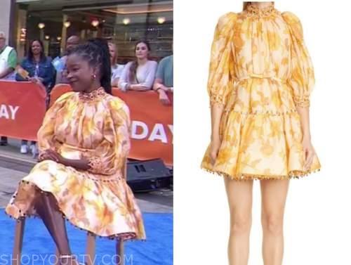 amanda gorman, the today show, orange and yellow floral mock neck dress