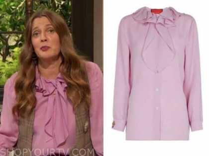 drew barrymore, drew barrymore show, purple ruffle blouse