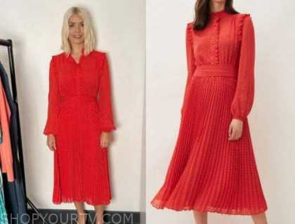 holly willoughby, this morning, red pleated midi dress