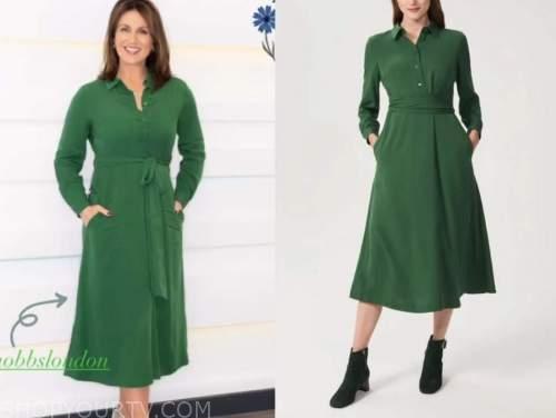 good morning britain, susanna reid, green midi dress