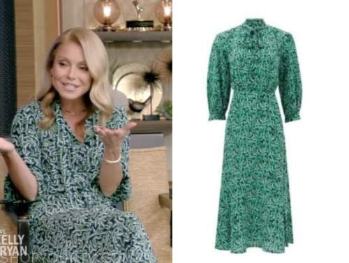 live with kelly and ryan, green tie neck midi dress, kelly ripa