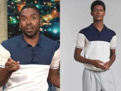 justin sylvester, E! news, daily pop, colorblock polo shirt