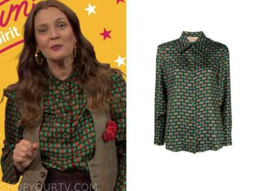 drew barrymore, drew barrymore show, green and red geometric shirt