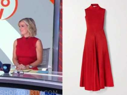 dr. jennifer ashton, red midi dress, good morning america