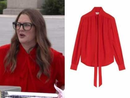 drew barrymore, drew barrymore show, red tie neck blouse