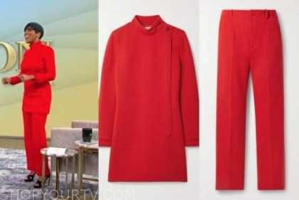 tamron hall, tamron hall show, red mock neck top, red pants