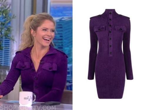 sara haines, the view, purple knit dress