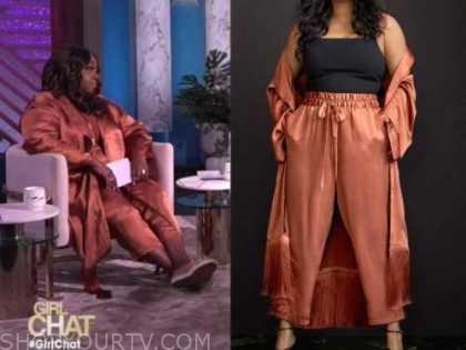 loni love, the real, orange satin jacket and pants