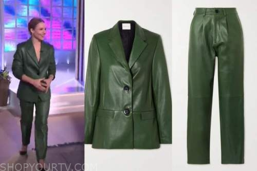 kristen bell, the kelly clarkson show, green leather blazer and pant suit