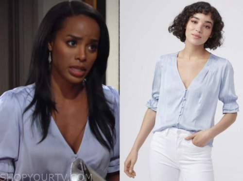 imani benedict, leigh-ann rose, the young and the restless, blue silk top