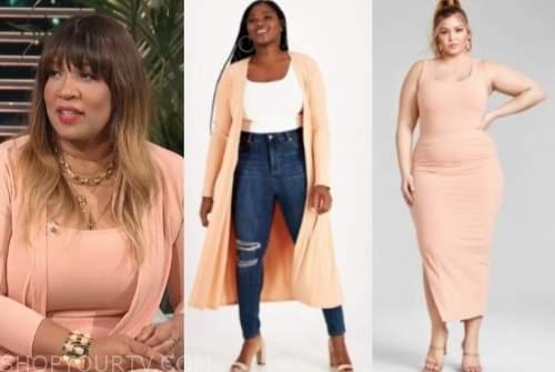 kym whitley, E! news, daily pop, orange peach cardigan, knit top, knit skirt