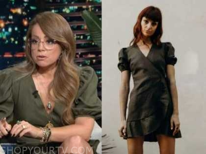 marcela valladolid, E! news, daily pop, green wrap dress