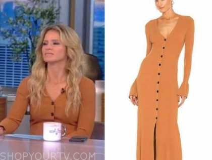sara haines, the view, camel tan sweater dress