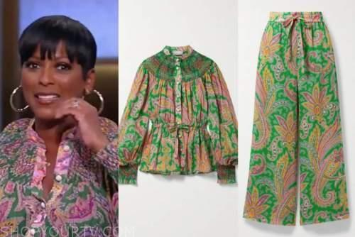 tamron hall, tamron hall show, green paisley top and pants