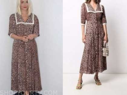 holly willoughby, this morning, leopard collar midi dress