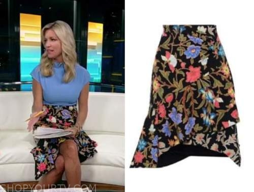 ainsley earhardt, floral skirt, fox and friends