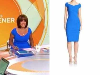gayle king, cbs mornings, blue dress