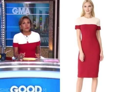 robin roberts, red colorblock sheath dress, good morning america