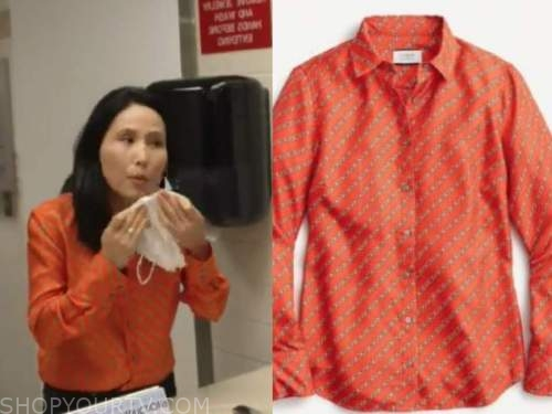 vicky nguyen, the today show, red chain print shirt