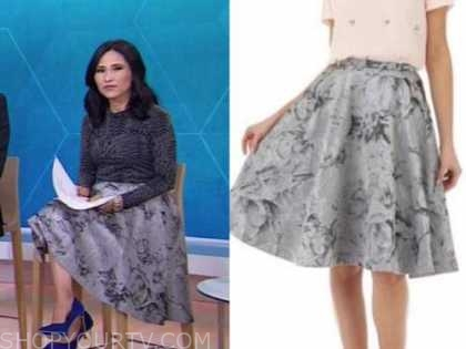 vicky nguyen, the today show, silver floral jacquard skirt