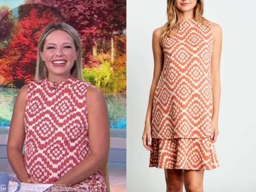 dylan dreyer, the today show, red and white maternity dress