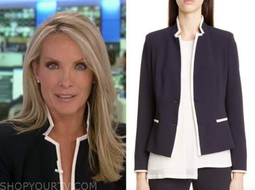 dana perino, america's newsroom, navy blue contrast trim jacket