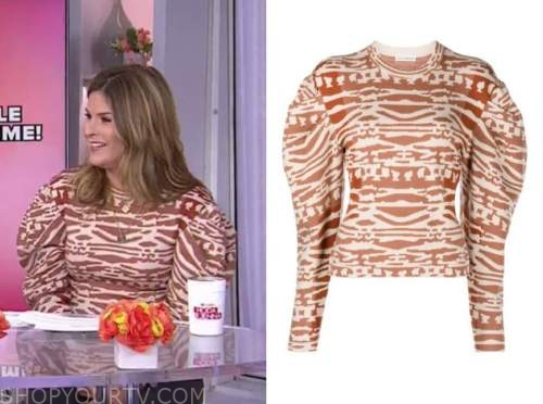 jenna bush hager, the today show, printed puff sleeve sweater