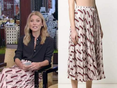 live with kelly and ryan, kelly ripa, pink printed pleated midi skirt