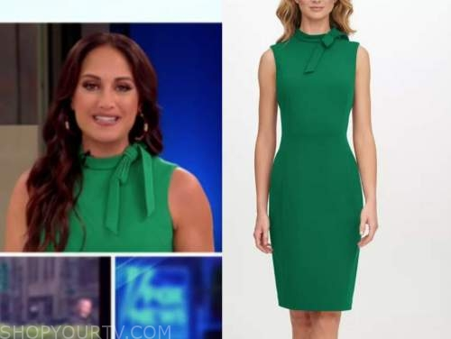 emily compagno, green tie neck sheath dress, outnumbered