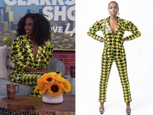 andrea pitter, the kelly clarkson show, yellow and black sequin houndsooth pant suit