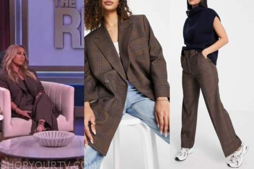 adrienne bailon, the real, brown plaid blazer and pant suit