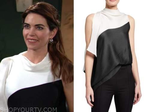 victoria newman, amelia heinle, the young and the restless, black and white colorblock top