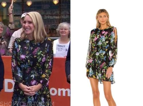 andrea canning, the today show, black floral cold-shoulder dress