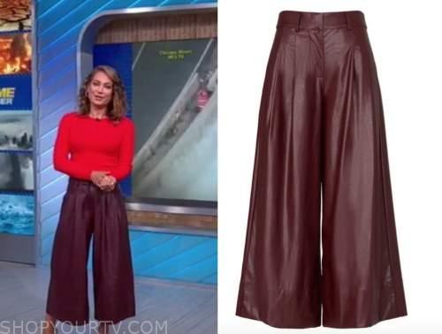 ginger zee, good morning america, burgundy leather pants