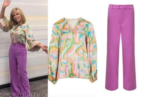 good morning britain, kate garraway, pastel blouse, purple pants