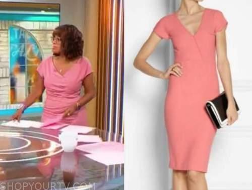 gayle king, cbs mornings, coral pink sheath dress