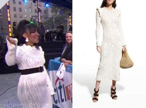 mickey guyton, the today show, ivory white knit midi dress