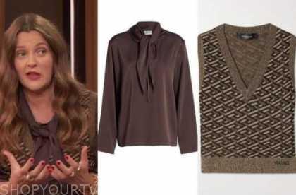 drew barrymore, drew barrymore show, brown tie neck top, metallic sweater vest