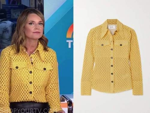 savannah guthrie, the today show, yellow perforated shirt