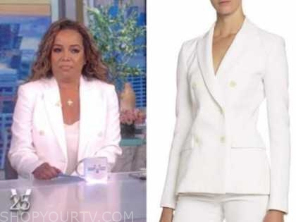 sunny hostin, the view, white double breasted blazer